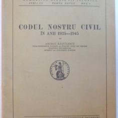 CODUL NOSTRU CIVIL IN ANII 1925-1945 de ANDREI RADULESCU 1946