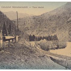 Carte Postala, Circulata, Fotografie - Romania, Maramures, c.p. circulata 1915: Peisaj montan, raul Tisza, sine c.f.