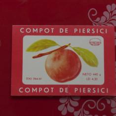 Eticheta - Compot de piersici - Fabrica Refacerea Arad perioada comunista RSR !