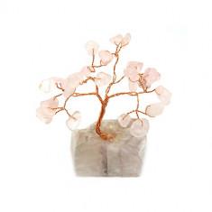 Copacel cu cuart roz pe suport de piatra - Betisoare parfumate