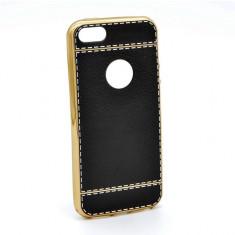 Capac de protectie iPhone 6 Plus / 6S Plus, TPU electroplacat si imitatie piele, diverse culori - Husa Telefon