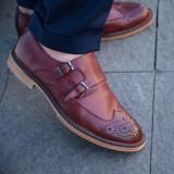 Pantofi din piele double strap monk. Cod MONK 2. Disponibili pe maro si visiniu - Pantofi barbati, Marime: 39, 40, 41, 42, 43, 44, Piele naturala