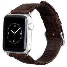 Curea ceas piele naturala Hoco, Apple watch 42mm, aspect crocodil, MARO INCHIS