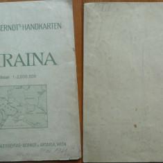 Harta militara a Ucrainei tiparita la Viena in 1941 in vederea razboiului