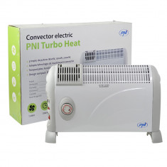Resigilat - Convector electric de podea PNI Turbo Heat 2000W, 3 trepte de putere, ventilatie, timer, termostat reglabil, Alb