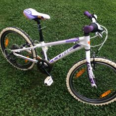 BICICLETA CUBE KID 200 GIRL Violet Portocaliu, 7 viteze - Mountain Bike Cube, Numar viteze: 7