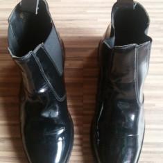 Botine Pasotini originale, elegante, piele lac, dame, nr.40. - Botine dama, Culoare: Negru, Piele naturala