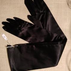 Manusi de dama, de gala, satin negru, lungi peste cot, 50cm - Manusi Dama, Marime: M