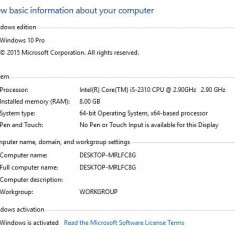 Sistem Intel i5 Quad 3.2 GHz, Win 10 x64, i5-2310, 8GB DDR3, 2x HDD 500GB & 1TB - Sisteme desktop fara monitor Msi