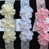 Bentita pentru fetite - Three flowers with pearl