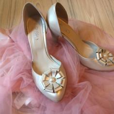 Pantofi mireasa ivoire, piele naturala, Il PASSO - Pantof dama, Marime: 37.5