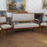 Salon stil Biedermeier, canapea + 4 scaune