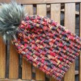 Caciula handmade, lana 100% cu mot detasabil din blana naturala - Caciula Copii, Culoare: Maro, Marime: 52