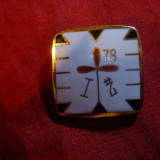 Insigna Asiatica I HZ 78, metal aurit si email, dim.= 2, 4x2, 4 cm