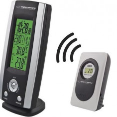 Statie Meteo wireless cu senzor extern, ceas si alarma, Esperanza Velum