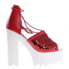 Sandale dama cu toc Rosales rosii