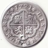 Regatul Spaniei - 2 Reales 1721 - Sevilla - Argint - Moneda Medievala, Europa
