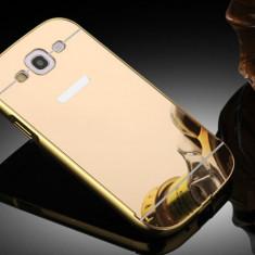HUSA BUMPER ALUMINIU + SPATE OGLINDA IPHONE 6 / 6S GOLD - Husa Telefon Alcatel, Negru, Piele Ecologica, Cu clapeta
