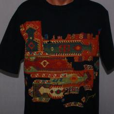Tricou barbati KENZO Homme autentic negru cu model folk marimea M / L, Maneca scurta, Bumbac