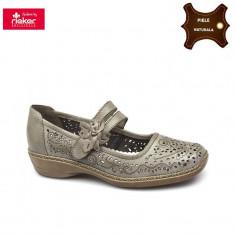 Pantofi dama piele naturala RIEKER bej (Marime: 39) - Pantof dama