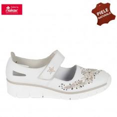 Pantofi dama piele naturala RIEKER alb floral (Marime: 38) - Pantof dama