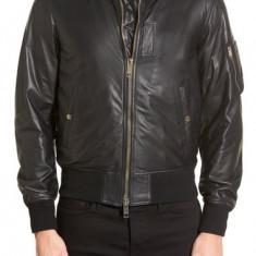 SUPER OFERTA!!! Jacheta de piele BURBERRY 'Ralleigh' Black Leather Bomber Jacket - Jacheta barbati Burberry, Marime: S, Culoare: Negru