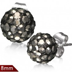 Cercei Shamballa din oțel, bile negre, zirconii gri rotunzi, 8 mm - Cercei inox