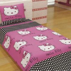 Lenjerii de pat copii Hello Kitty 140x210 - Lenjerie pat copii Altele, Alte dimensiuni, Violet