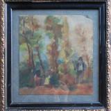 Popas in padure - semnat N.Vermont 1914 - Pictor roman, Peisaje, Acuarela, Altul