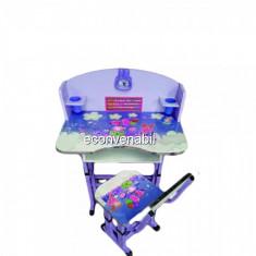 Birou Copii cu masuta, etajera si scaun KT0539 Albastru - Masuta/scaun copii