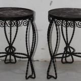 2 Buc. Taburete din fier forjat; Scaun; Masa metalica; Masuta - Scaun living